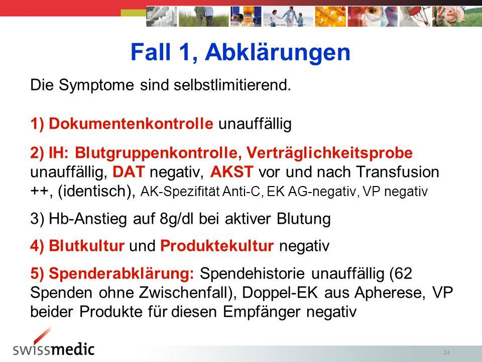 Fall 1, Abklärungen Die Symptome sind selbstlimitierend.