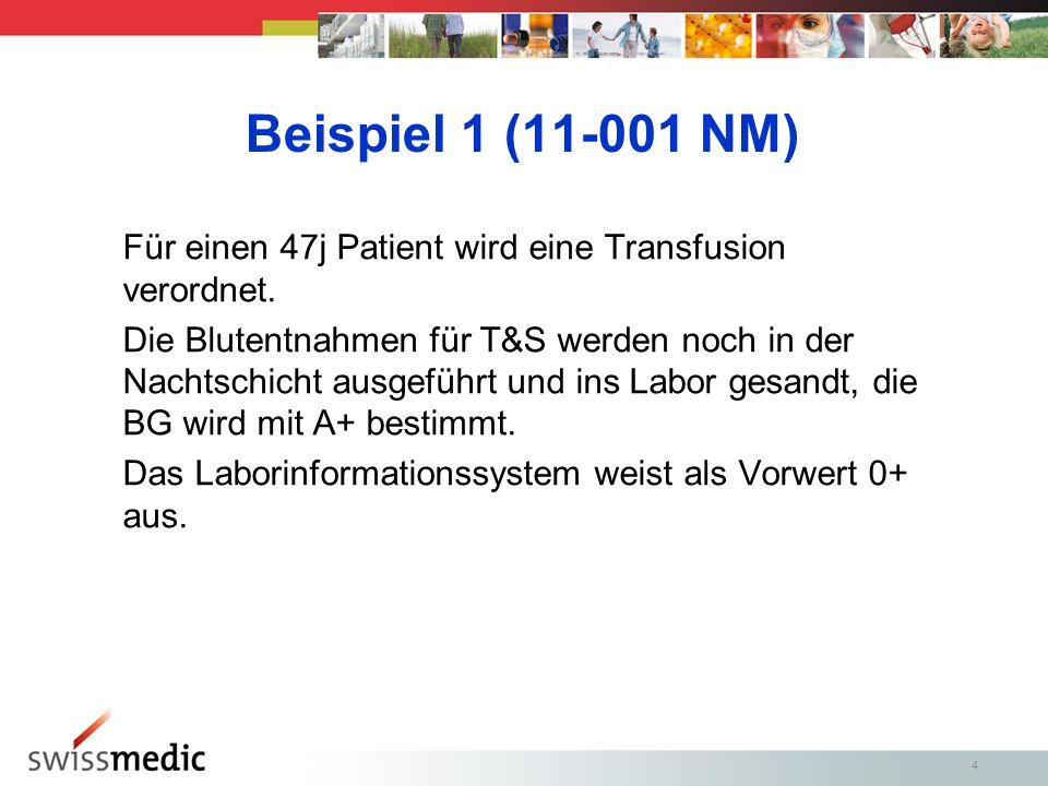 Beispiel 1 (11-001 NM) Für einen 47j Patient wird eine Transfusion verordnet.