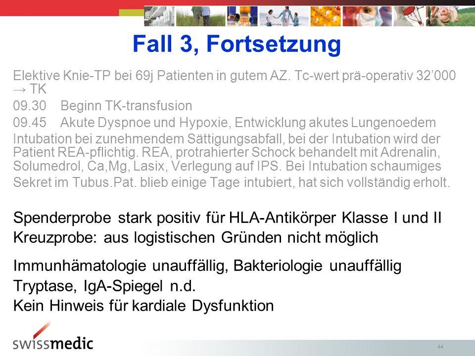 Fall 3, Fortsetzung Elektive Knie-TP bei 69j Patienten in gutem AZ. Tc-wert prä-operativ 32'000 → TK.
