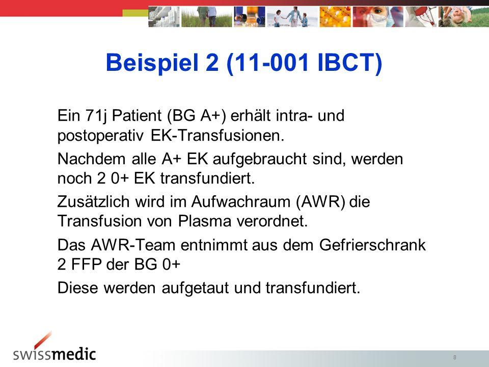 Beispiel 2 (11-001 IBCT) Ein 71j Patient (BG A+) erhält intra- und postoperativ EK-Transfusionen.