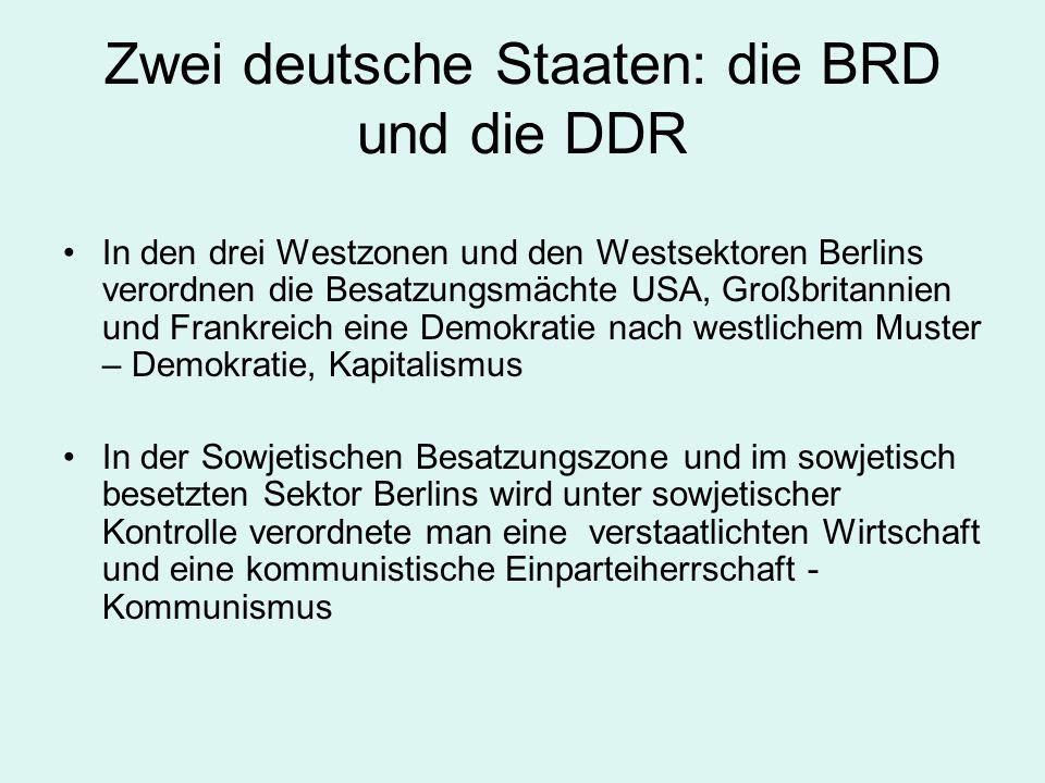 Zwei deutsche Staaten: die BRD und die DDR