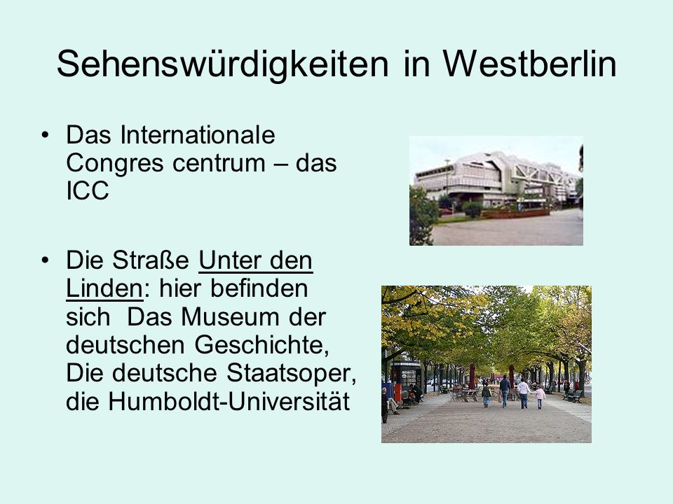Sehenswürdigkeiten in Westberlin