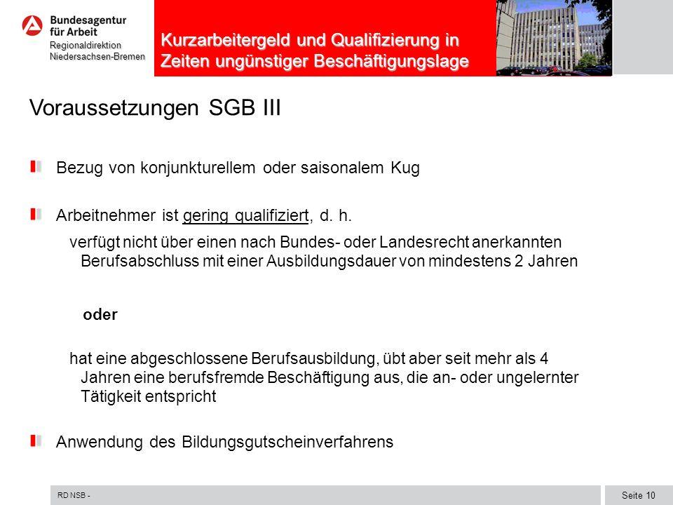 Voraussetzungen SGB III