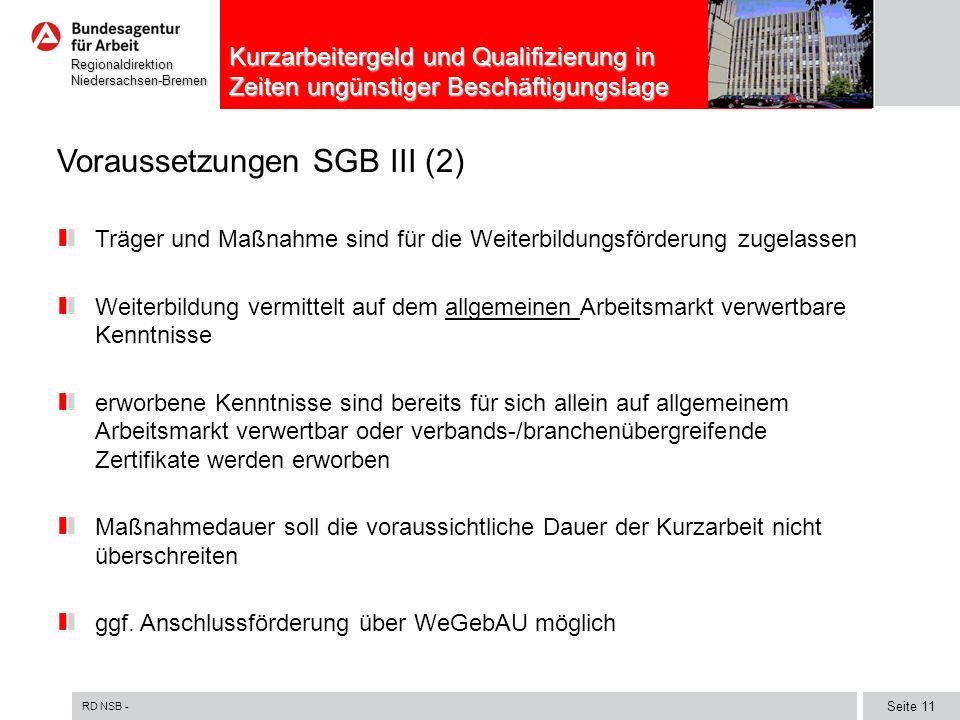 Voraussetzungen SGB III (2)
