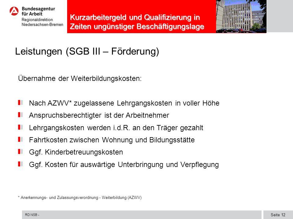 Leistungen (SGB III – Förderung)