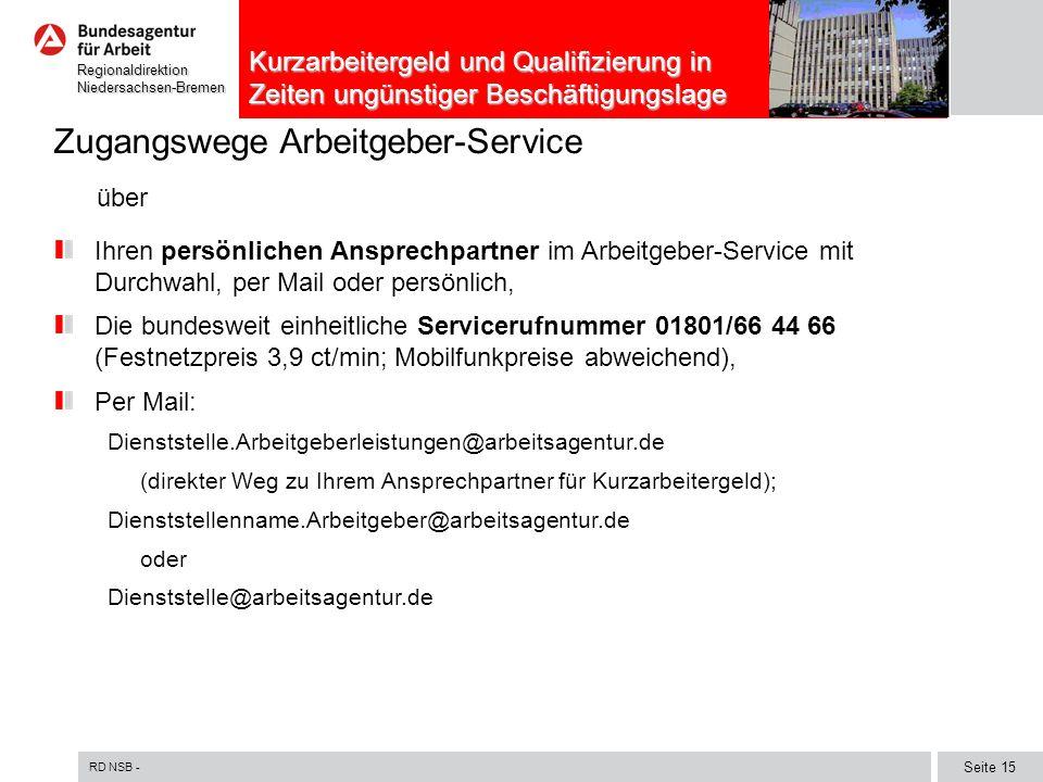 Zugangswege Arbeitgeber-Service über