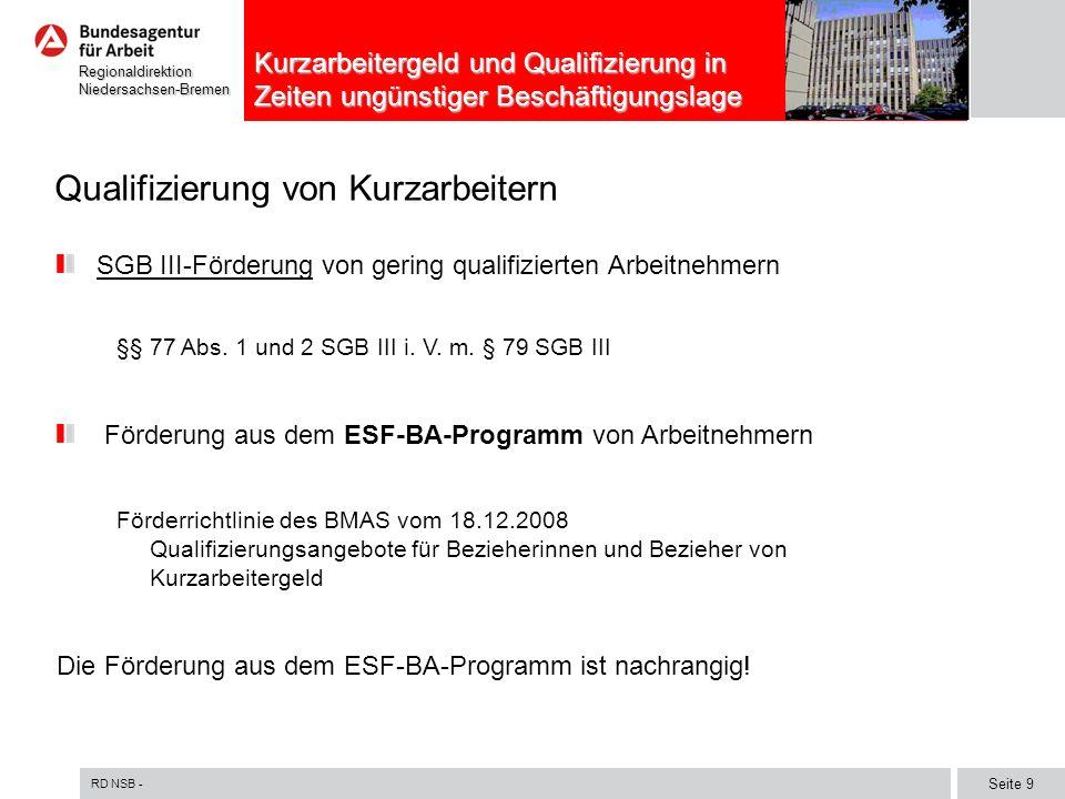 Qualifizierung von Kurzarbeitern