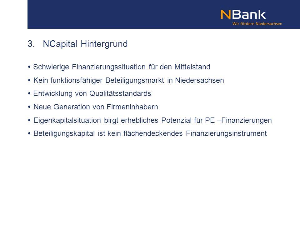 3. NCapital Hintergrund  Schwierige Finanzierungssituation für den Mittelstand. Kein funktionsfähiger Beteiligungsmarkt in Niedersachsen.