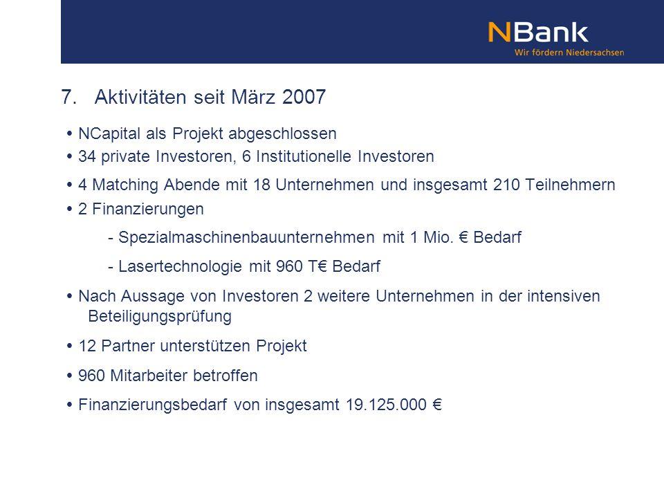 7. Aktivitäten seit März 2007  NCapital als Projekt abgeschlossen