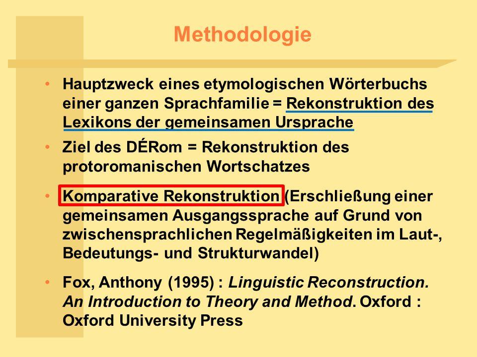 Methodologie Hauptzweck eines etymologischen Wörterbuchs einer ganzen Sprachfamilie = Rekonstruktion des Lexikons der gemeinsamen Ursprache.