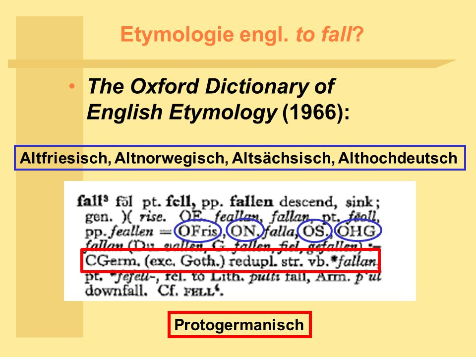 Etymologie engl. to fall