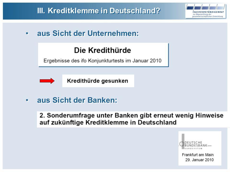 III. Kreditklemme in Deutschland