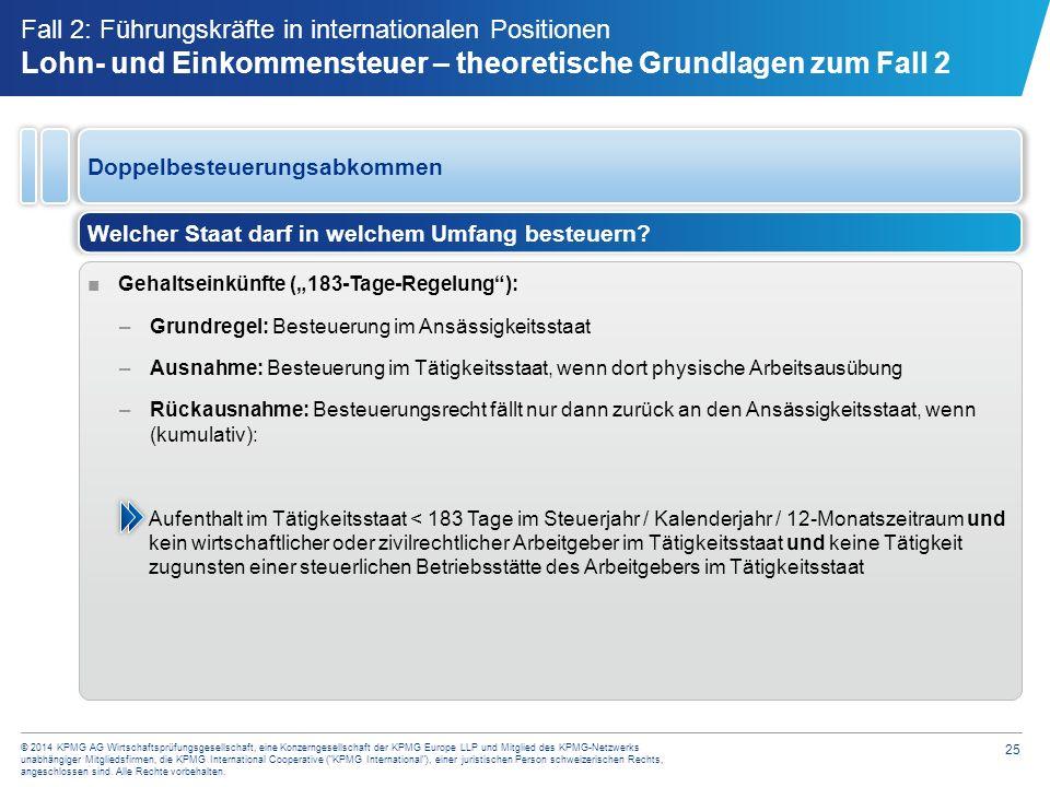 Frage 1 zu Steuer Fall 2 In welchem Land wird Herr Müller steuerpflichtig Deutschland. Niederlande.
