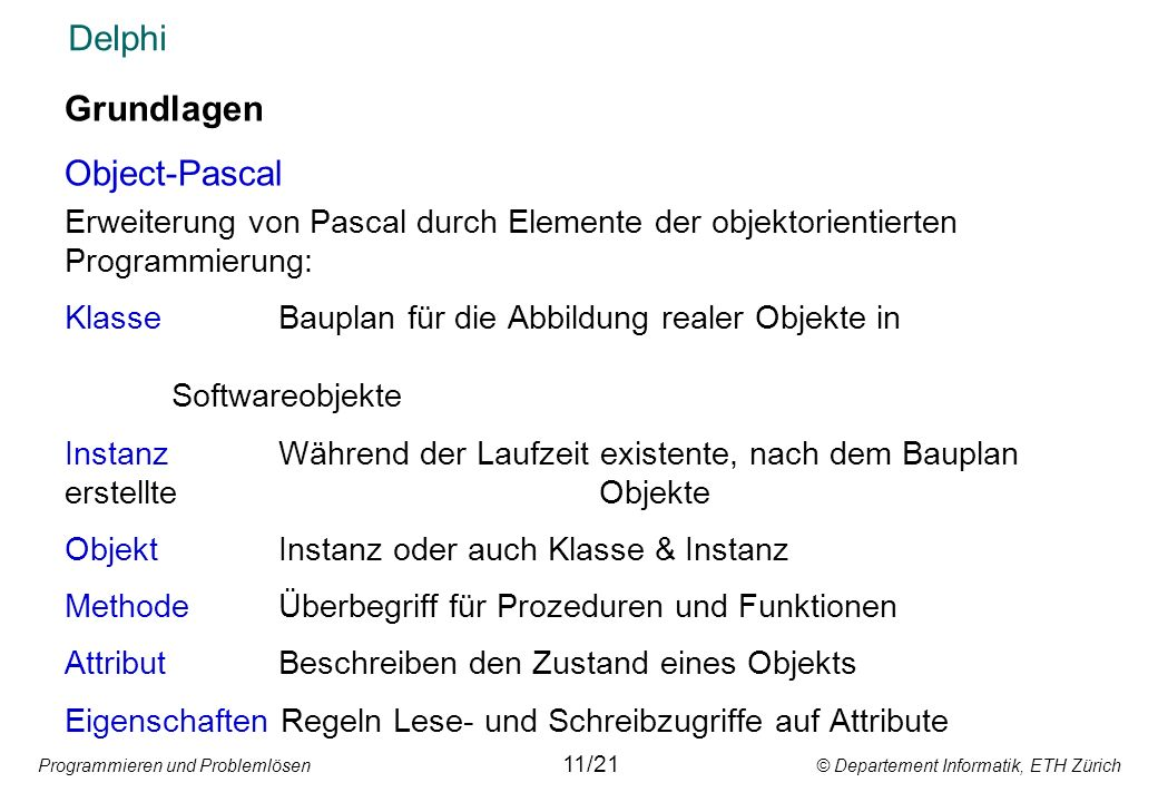 Delphi Grundlagen Object-Pascal