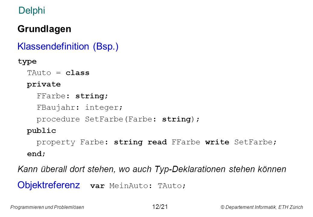 Klassendefinition (Bsp.)