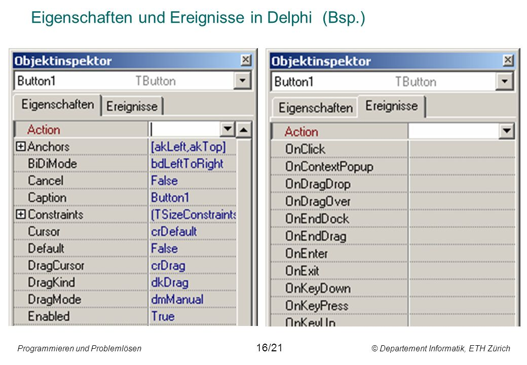 Eigenschaften und Ereignisse in Delphi (Bsp.)