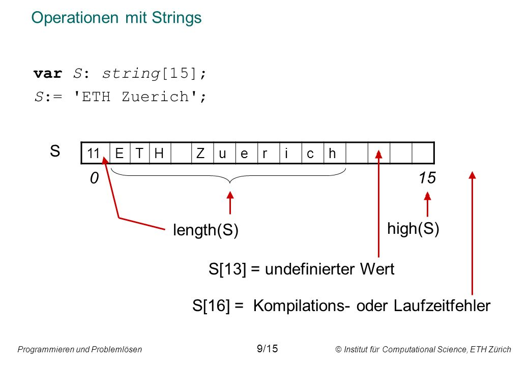 Operationen mit Strings