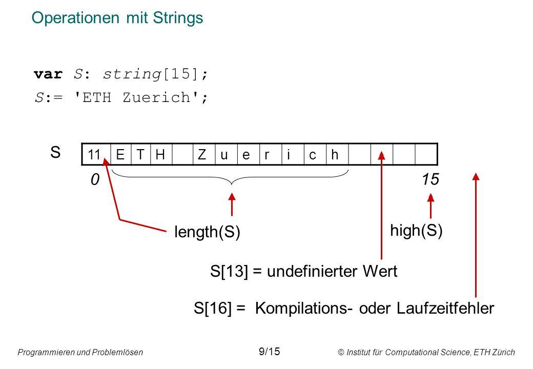 Operationen mit Strings