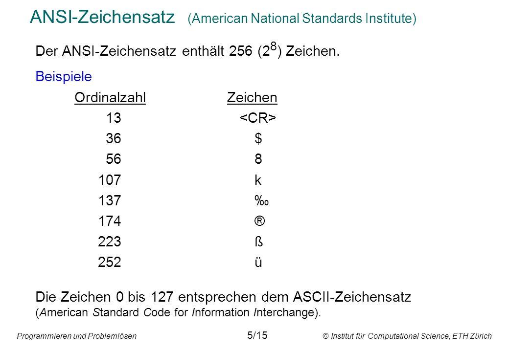 ANSI-Zeichensatz (American National Standards Institute)