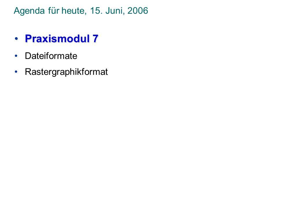 Praxismodul 7 Agenda für heute, 15. Juni, 2006 Dateiformate