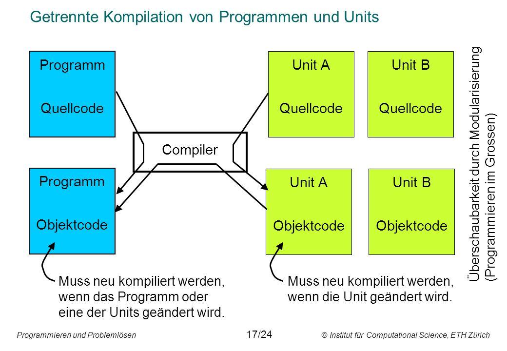Getrennte Kompilation von Programmen und Units