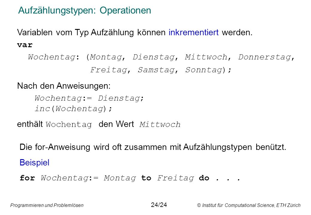 Aufzählungstypen: Operationen