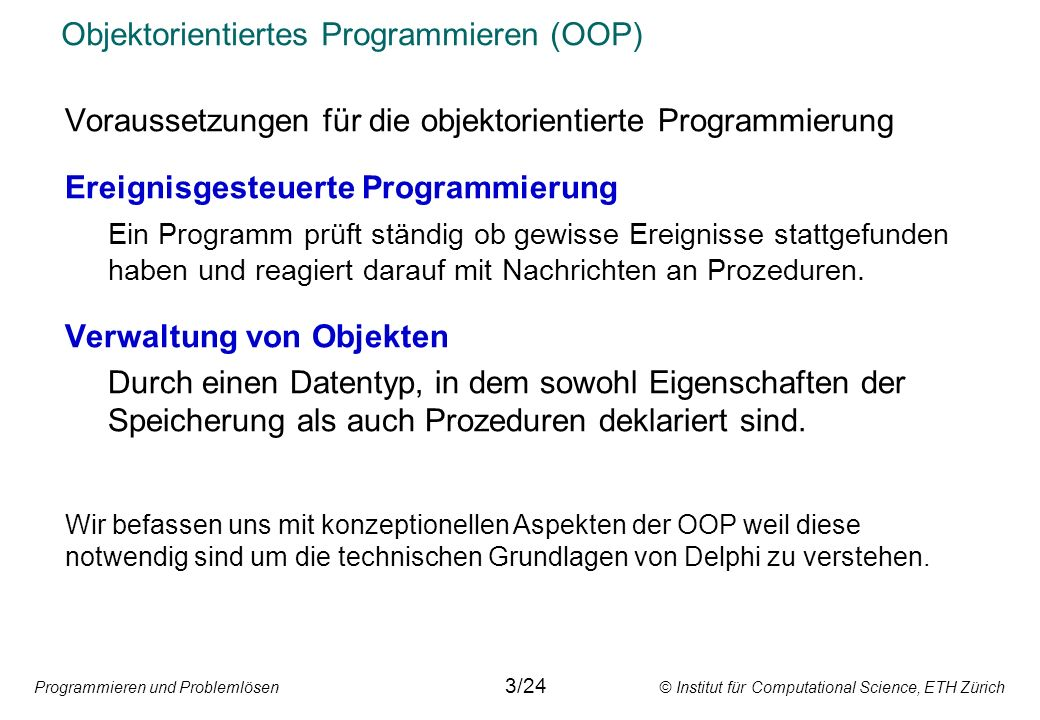 Objektorientiertes Programmieren (OOP)