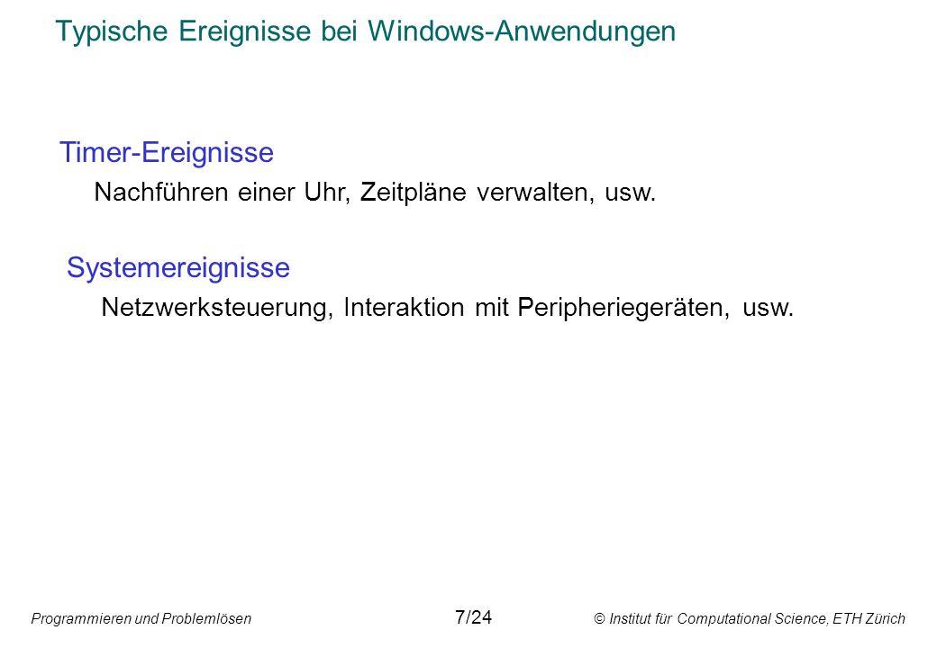 Typische Ereignisse bei Windows-Anwendungen