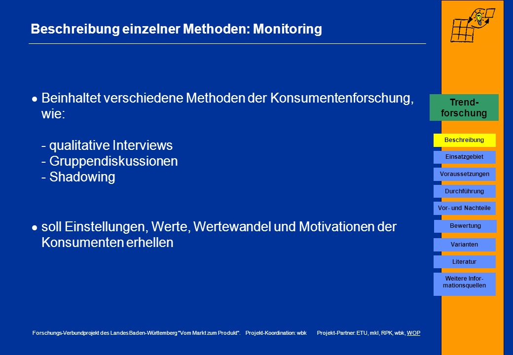 Beschreibung einzelner Methoden: Monitoring