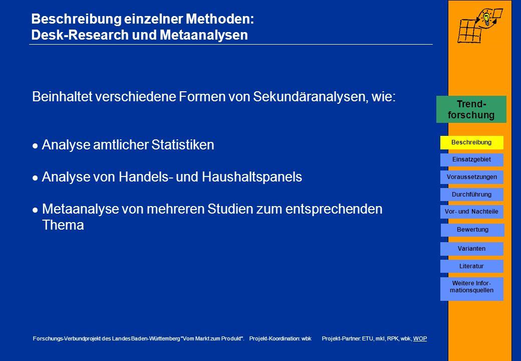 Beschreibung einzelner Methoden: Desk-Research und Metaanalysen