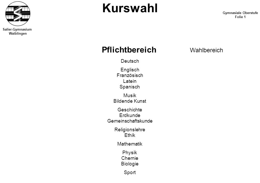 Kurswahl Pflichtbereich Wahlbereich Deutsch Englisch Französisch