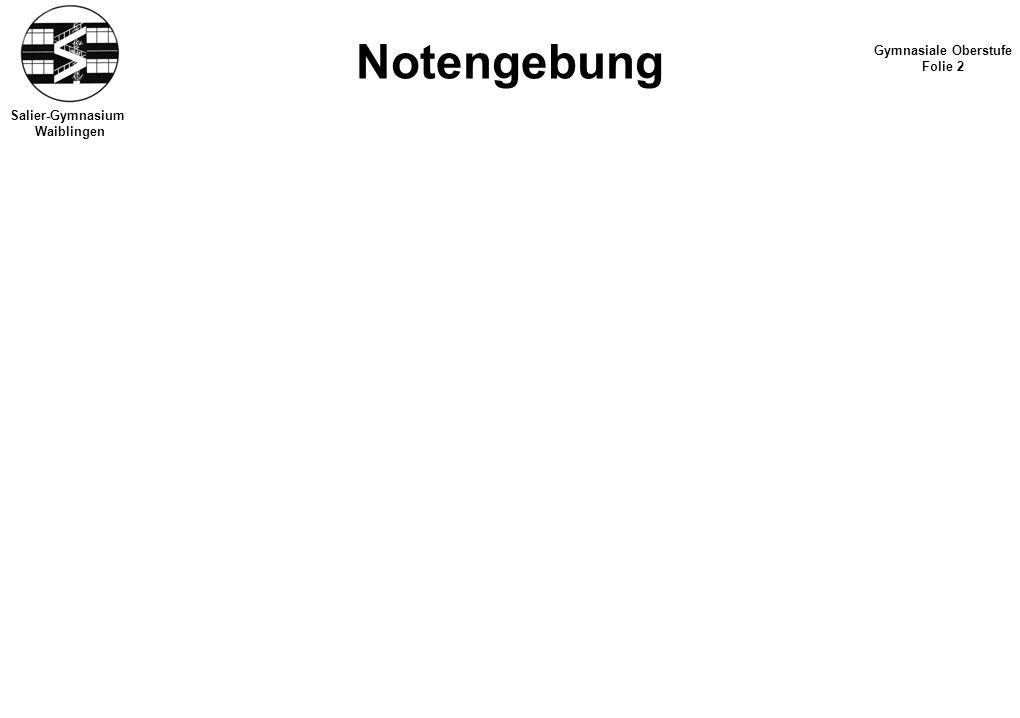 Notengebung Gymnasiale Oberstufe Folie 2 Salier-Gymnasium Waiblingen