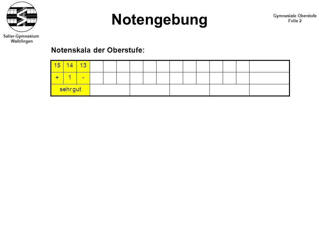 Notengebung Notenskala der Oberstufe: 15 14 13 + 1 - sehr gut