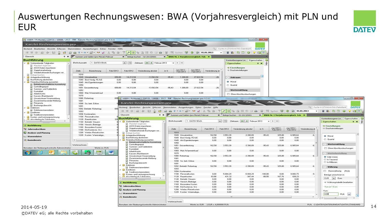 Auswertungen Rechnungswesen: BWA (Vorjahresvergleich) mit PLN und EUR