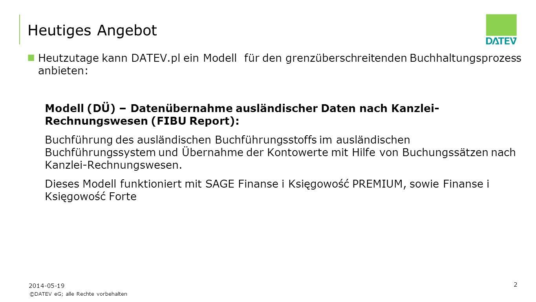 Heutiges Angebot Heutzutage kann DATEV.pl ein Modell für den grenzüberschreitenden Buchhaltungsprozess anbieten: