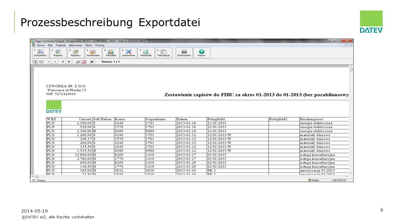 Prozessbeschreibung Exportdatei