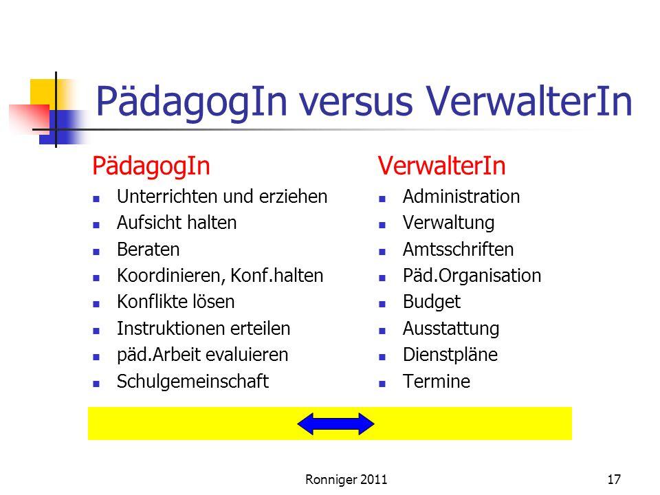 PädagogIn versus VerwalterIn