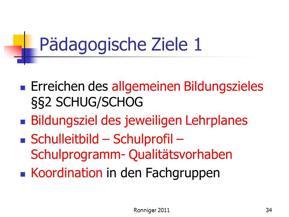Pädagogische Ziele 1 Erreichen des allgemeinen Bildungszieles §§2 SCHUG/SCHOG. Bildungsziel des jeweiligen Lehrplanes.