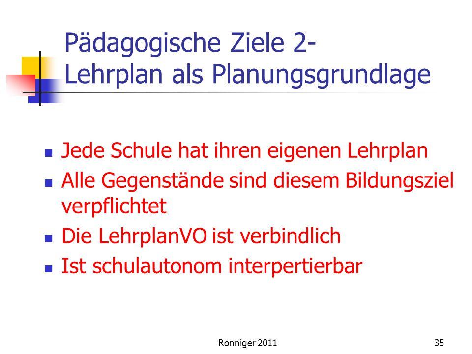 Pädagogische Ziele 2- Lehrplan als Planungsgrundlage