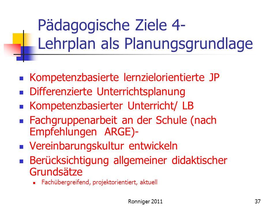 Pädagogische Ziele 4- Lehrplan als Planungsgrundlage