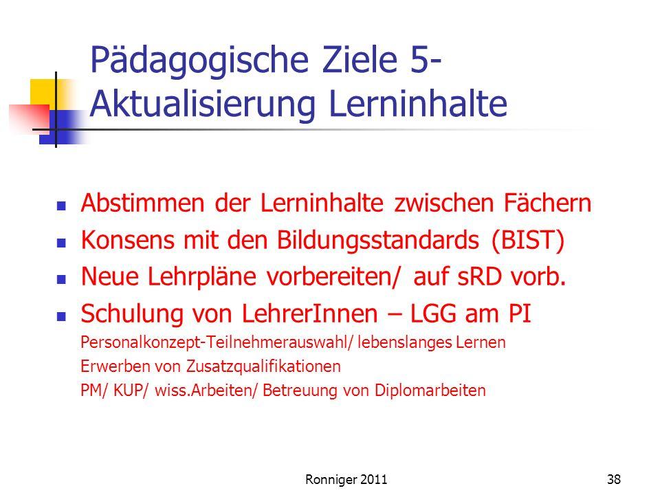 Pädagogische Ziele 5- Aktualisierung Lerninhalte