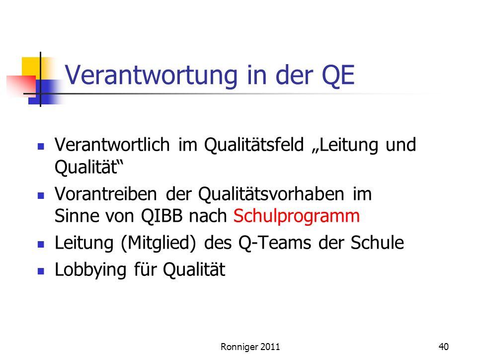 Verantwortung in der QE