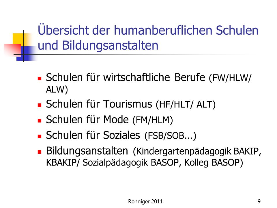 Übersicht der humanberuflichen Schulen und Bildungsanstalten