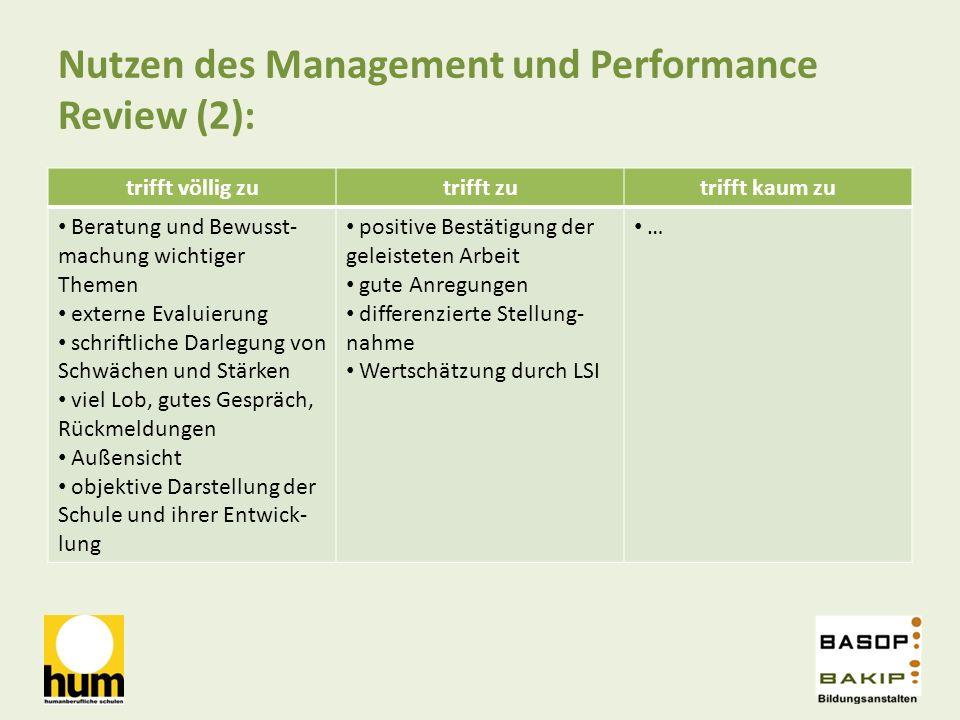 Nutzen des Management und Performance Review (2):