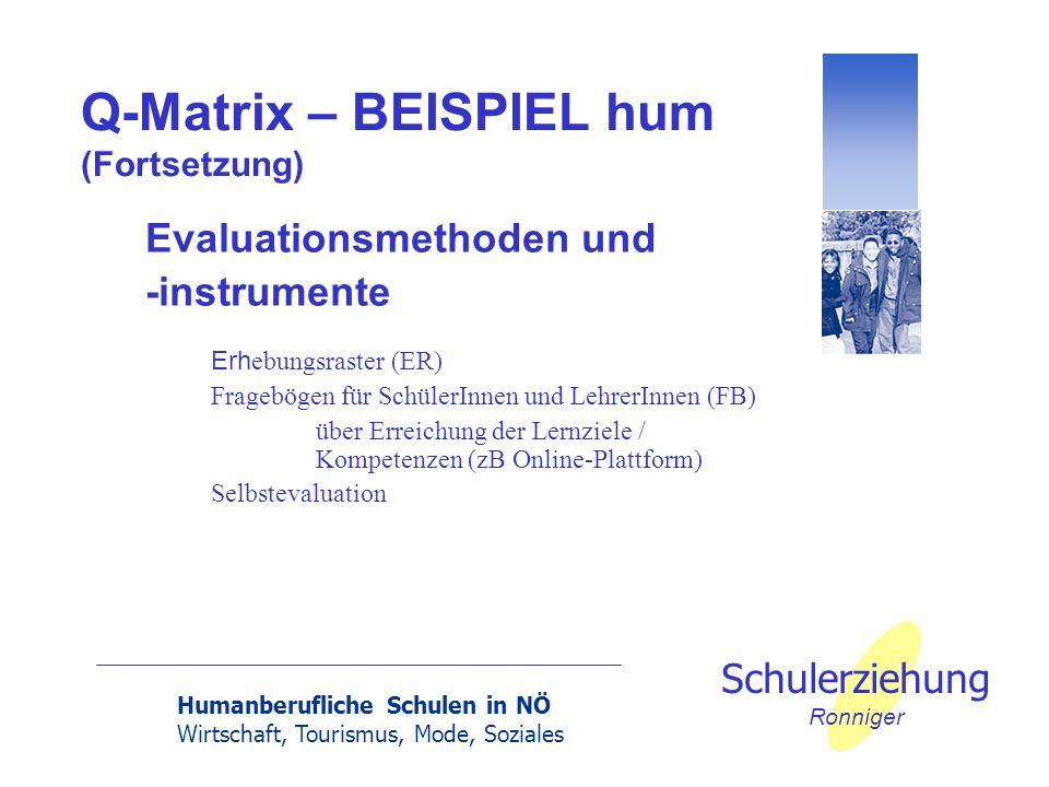 Q-Matrix – BEISPIEL hum (Fortsetzung)