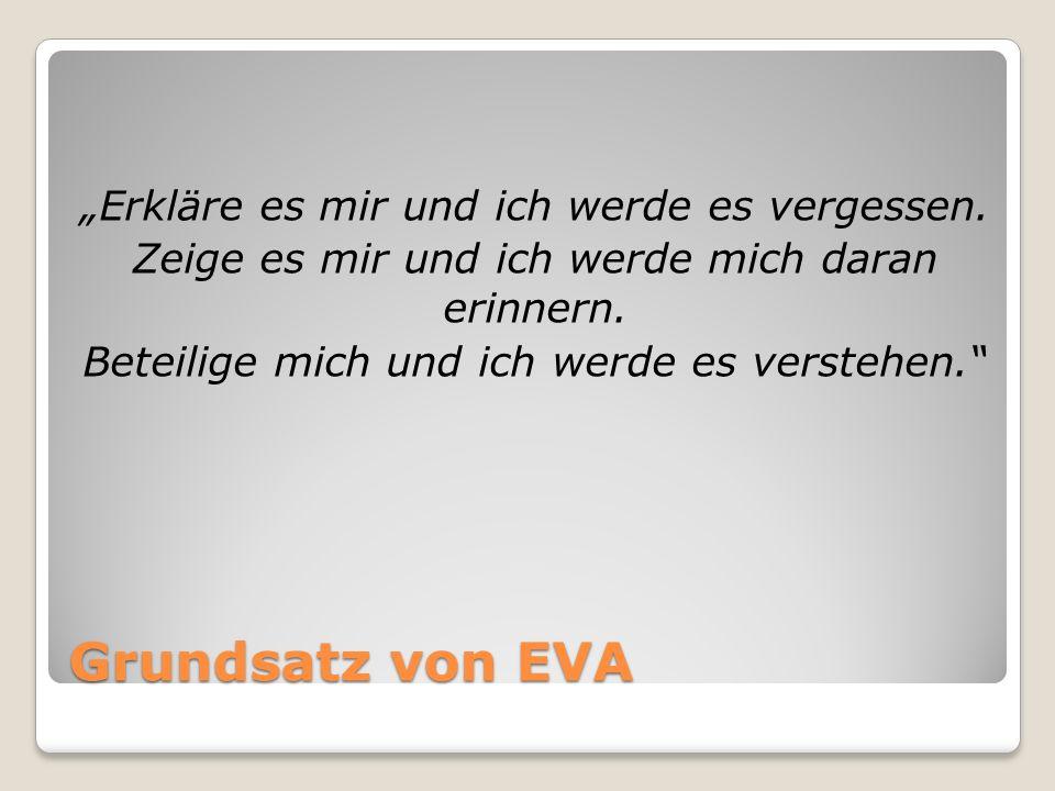 """Grundsatz von EVA """"Erkläre es mir und ich werde es vergessen."""