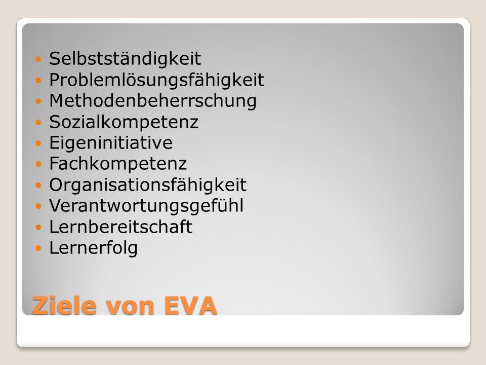 Ziele von EVA Selbstständigkeit Problemlösungsfähigkeit
