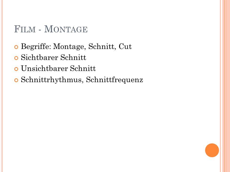 Film - Montage Begriffe: Montage, Schnitt, Cut Sichtbarer Schnitt