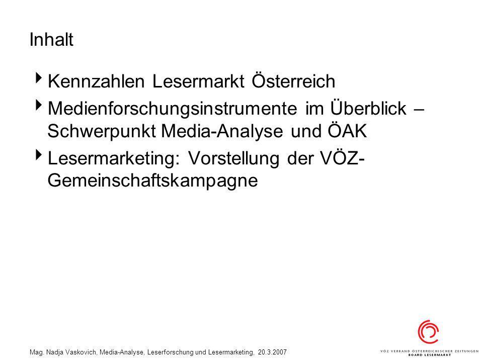 Kennzahlen Lesermarkt Österreich