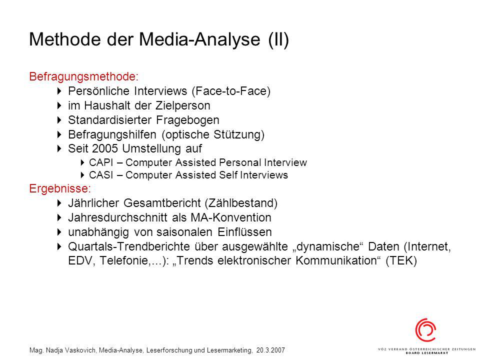 Methode der Media-Analyse (II)